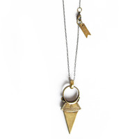 Maia Spear Pendant Necklace - Brass