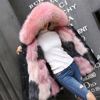 OFTBUY 2017 long winter jacket women outwear thick parkas raccoon natural real fur collar coat hooded real warm fox fur liner