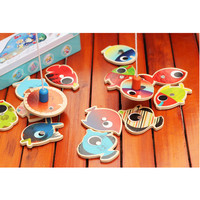 Educational Wooden Magnetic Baby Pesca Fishing Game Toy 14 Fishes + 2 Fishing Rods for Baby Kids Children