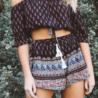 Bohemia off-the-shoulder two-piece outfit