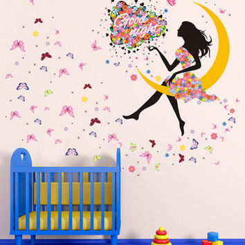 Princess Butterfly Moon Nursery Wall Decor Girls Art Decal Wall Stickers DIY Mural for Girls Room Self Adhesive PVC Wall Decal Sticker