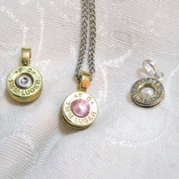 Ammo Bullet Charm Necklace - Ammunition Casing on chain w/ swarovski crystal - 9mm, 45 caliber, 40 caliber, 30-06, 38, or any other caliber
