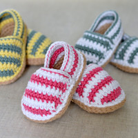 CROCHET PATTERN Stripy Espadrille Baby Shoes in 3 sizes Baby Espadrille Shoes crochet pattern instant download