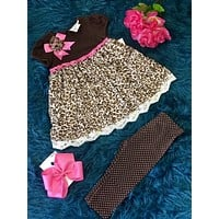 Adorable Fall Cheetah & Pink Print Dress Pant Set