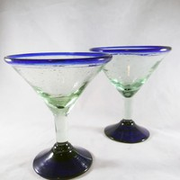 Blue Rimmed Mexican Glass Martini Stemware