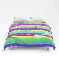 Butterflies & Rainbow Stripes Comforters by Whimsy Romance & Fun