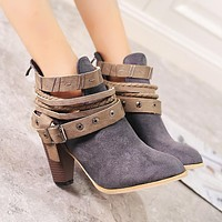 Hot selling casual rivet buckle stubble with ankle boots women frosted imitation leather Martin boots Gray