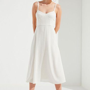UO Bustier Midi Dress   Urban Outfitters