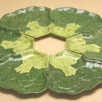 Broccoli Ceramic Serving Plate or Set of Six Individual Plates 22.75W