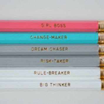 Girl Boss Pencil Set - motivational pencils, pencils sets, cute pencils, school supplies, imprinted pencils, girl boss, office supplies
