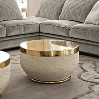 Luxury Matte Round Coffee Table With Metal Top