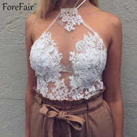 Summer 2016 women sexy see through embroidery lace halter top backless hollow out girls party crop top casual beach bikini