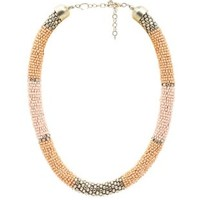 Lt Pink Seed Beaded Rope Choker Necklace by Charlotte Russe