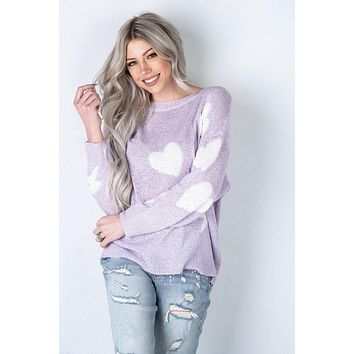 Lavender Heart and Lightning Bolt Sweater