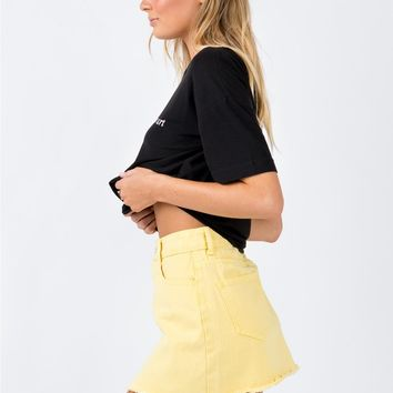 Hallie Denim Mini Skirt Lemon | Princess Polly