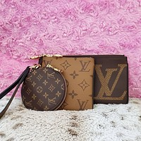 LV Louis Vuitton Hot Sale New Women's Printed Letter Purse Three Piece bag Set Key bag