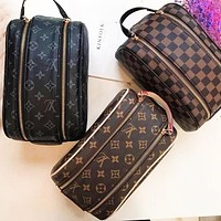 Louis Vuitton LV Toiletry Bag Makeup Bag Wash Bag Rectangle Long Double Zipper Bag Handbag Coffee