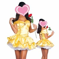Princess Belle Costume Beauty And The Beast Halloween Costume Gorgeous Dress Adult Women Carnival Cosplay Costumes Yellow Dress