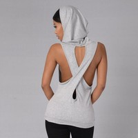 Sexy Women Cross Hollow Out Hooded Backless Tank Tops