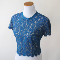 50s Blue Lace Blouse Cropped Top Royal Blue Bow Womens Large