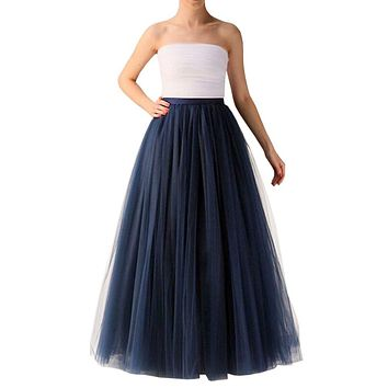 WDPL Wedding Planning A-line Maxi Long Tulle Skirt for Women Foor Length Evening Party Skirts 1
