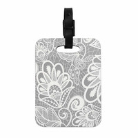 "Petit Griffin ""Lace Flower"" Gray White Decorative Luggage Tag"