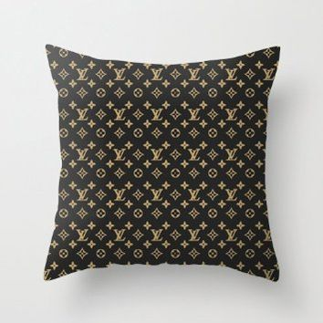 Brown Gold Lv Pattern Pillow Case Two Side (16 x 16 Inch)