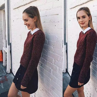 Brandy Melville Pullover Knit Batwing Sleeve Casual Tops [9698944399]