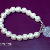 Monogrammed Pearl Bracelet 10mm with Sterling Charm | Marley Lilly