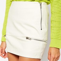 Glamorous Mini Skirt in Pu with Zip Details