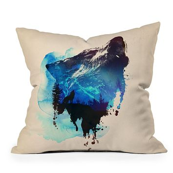 Robert Farkas Alone As A Wolf Throw Pillow