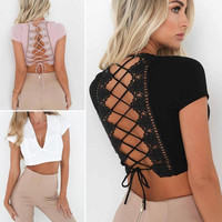 Hot Tie T Shirt Women Backless Bandage Hollow Out T-Shirts Charm Deep V-Neck Lace Club Party Crop Top For Female Girl Y1