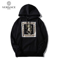 Versace casual hoodies are hot sellers of gold dragon high-end hoodies Black
