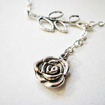 Rose Leaf Necklace Lariat silver chain necklace by RobertaValle