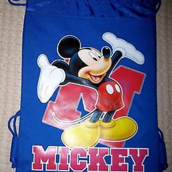 MICKEY MOUSE HANDS IN AIR BLUE DRAWSTRING BAG BACKPACK TRAVEL STRING POUCH-V2