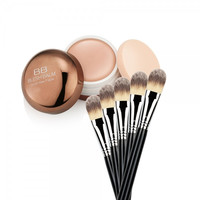 Perfect Face Makeup BB Cream + Powder Brush Cosmetic Set Black & Silver