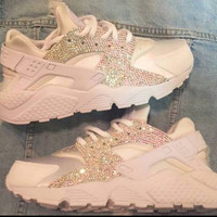 Crystal AB Nike white on white Huaraches !!! Please read description!
