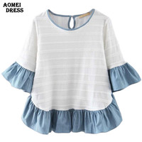2016 Women Butterfly Sleeve Casual Patchwork white and Light Blue O Neck Summer Blouse Half Sleeve Woman Clothes Blouses Tops