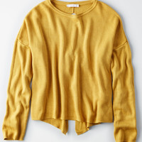 Don't Ask Why Tie Back Grommet Sweater, Mustard