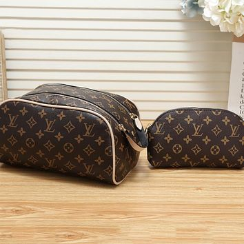 LV Louis Vuitton New Denim Embroidered Letter Cosmetic Bag Crossbody Bag Two Piece Set