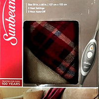 """Sunbeam Velvet Soft Plush Heated Throw Blanket Various Colors Size: 50"""" x 60"""" 3 Heat Setting Remote Control Auto Off (Red Plaid Reverse)"""