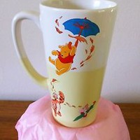 Disney World Exclusive Tall Yellow Winnie the Pooh and Friends Mug  Blustery Day