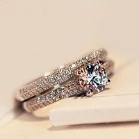 Hot sale fashion micro setting ring simulation diamond engagement ring engagement banquet ring