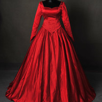 Once Upon A Time Emma Red Masquerade Inspired Ball Gown Dress Cosplay Costume