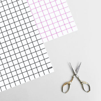 Grid Gift Wrap / Wrapping Paper / Pink Black Graph