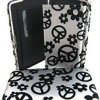 Flowers and Peace Signs Thick Flat Wallet Clutch Purse Silver