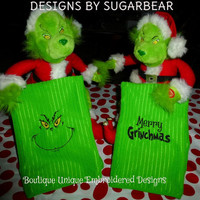 The GRINCH Towel Set - EMBROIDERED Bright Green and Black Eye Candy for Your Kitchen or Bath Nice Christmas GIFT Set! - Designs by Sugarbear