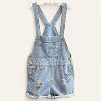 SUNFASHION Women Fashion Clothing Sky Blue Overalls Pocket Jumpsuit [4905534468]