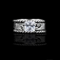 Western Silver & Rope Solitaire Ring - Ring Collection by Hyo Silver