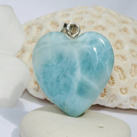Dominican Larimar Aquamarine Glass Heart Blue Pendant - 25% Off COUPON - sterling silver Aqua turquoise dolphin bohemian stone necklace 925